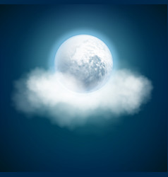 Full moon and clouds night with moonlight sky vector