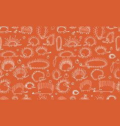 funny hedgehogs seamless pattern for your design vector image