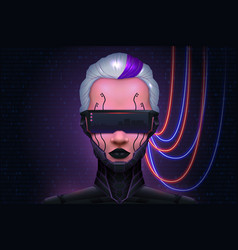 girl cyberpunk technology of the future cyber mind vector image