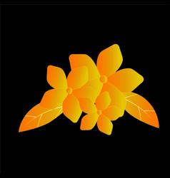 gold flower on black background vector image