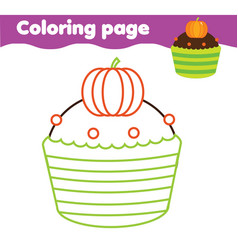 Halloween candy cupcake coloring page printable vector