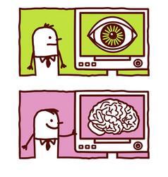 hand drawn cartoon characters - big eye brain vector image