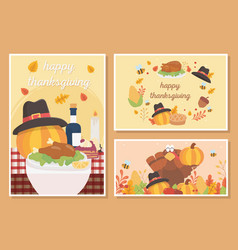 happy thanksgiving celebration card food turkey vector image
