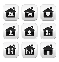 Home family buttons set vector image