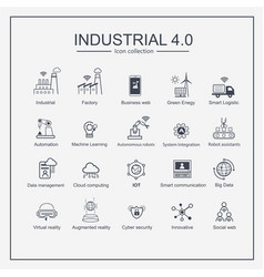 industry 40 and smart productions icon set smart vector image