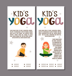 Kids in yoga poses flyers design vector