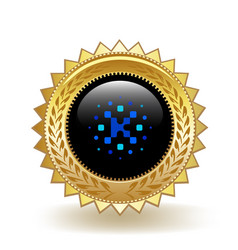 Kin cryptocurrency coin gold badge vector