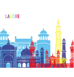 Lahore skyline pop vector