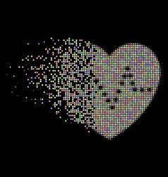 Light destructed dot halftone dotted heart pulse vector