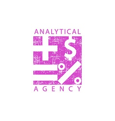 Logo analytical agency mathematical signs economy vector