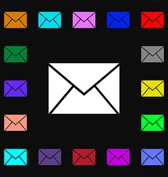 Mail envelope icon sign Lots of colorful symbols vector