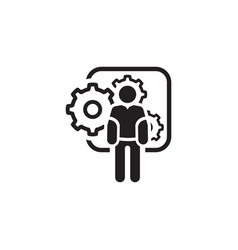 Mechanical engineering icon man and gears vector
