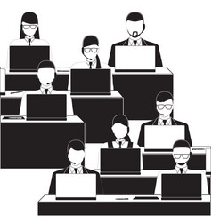 Men and women working in a call center black and vector