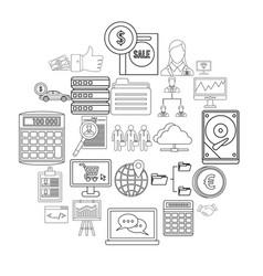 Merchant icons set simple style vector