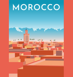 morocco travel retro poster vintage banner vector image