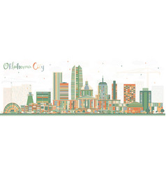 oklahoma city skyline with color buildings vector image