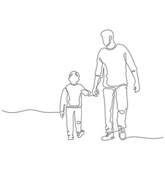 one line father dad walking with son fatherhood vector image