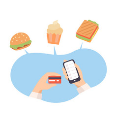 Online food order with help phone and card vector