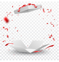 open box with red confetti vector image