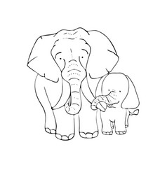 page for coloringmother elephant and baby vector image
