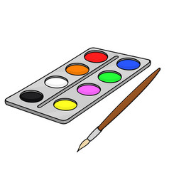 Paint palette with brush school doodle style vector
