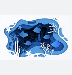 Paper cut sea background underwater ocean coral vector