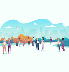 people gathering and communicating in the city vector image