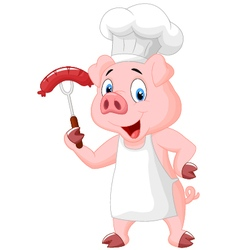 Pig Chef Cartoon With Sausage On Fork vector image