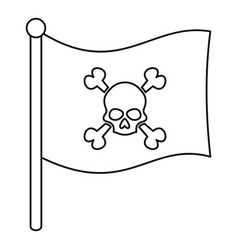 Pirate flag icon outline style vector