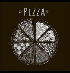 Pizza bw blackfon vector