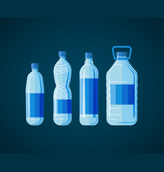 plastic bottles set on white black vector image