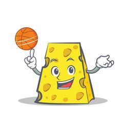 Playing basketball cheese character cartoon style vector