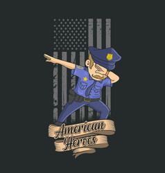 Police dabbing with american flag background vector