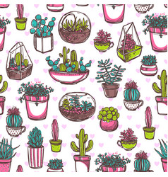 Potted cactus hand drawn seamless pattern vector