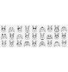 Rabbit faces expressions doodle set vector