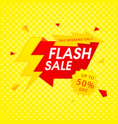 Red flash sale up to 50 off yellow background vec vector