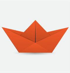 red origami boat vector image