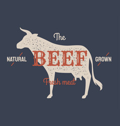 retro styled label of butcher meat shop scorched vector image