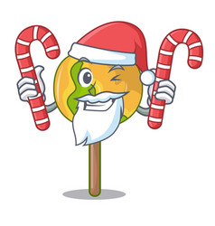 Santa with candy candy apple mascot cartoon vector