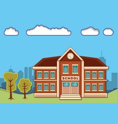 school building with landscape vector image