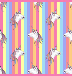 seamless pattern with hand drawn unicorns vector image
