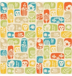 Seamless pattern with sculls birds and flowers vector