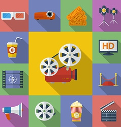 Set of Cinema Movie icons Flat style vector