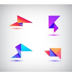 set of colorful abstract 3d origami logos vector image vector image