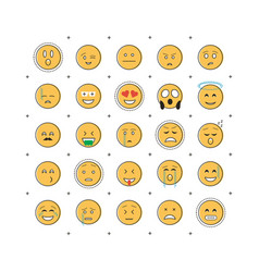 set of emoticon with line vector image