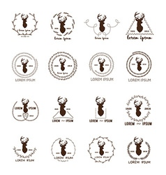 Set of hipster logo with silhouette of deer and vector image