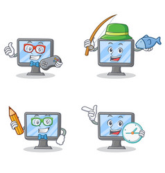 Set of monitor character with gamer fishing school vector