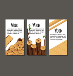 set of vertical banner firewood materials for vector image