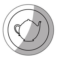 silhouette emblem teapot icon vector image