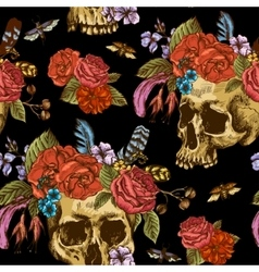 skull and flowers day the dead seamless pattern vector image